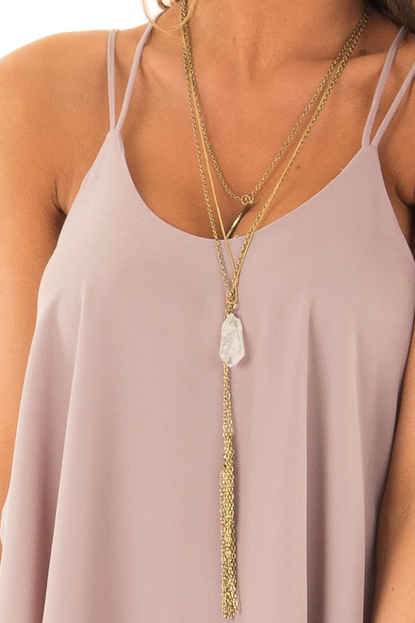 Dusty Mauve Spaghetti Strap Tank with Double Strap Detail detail