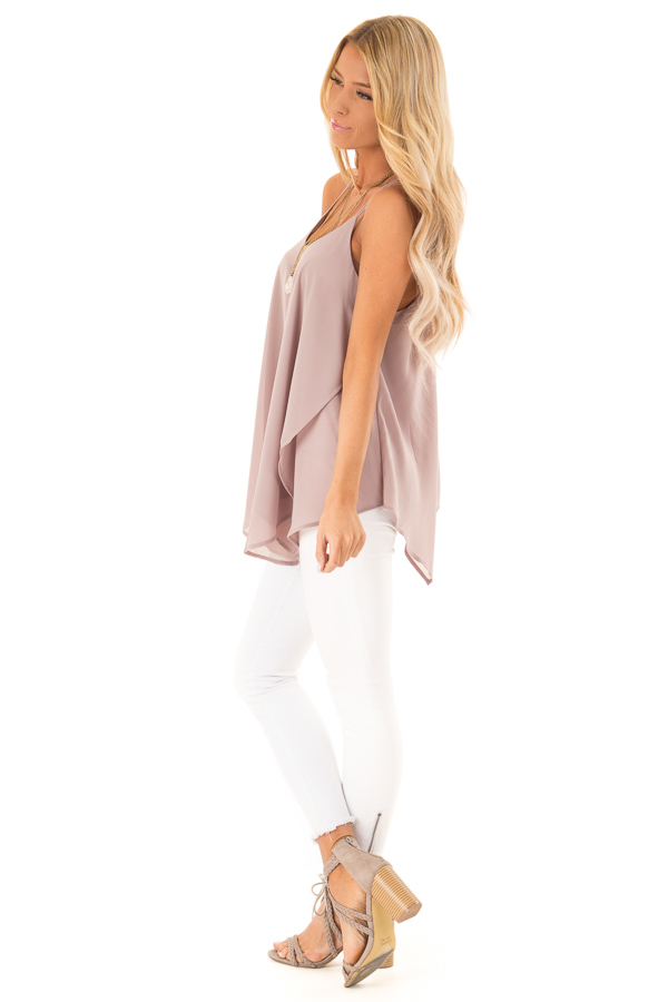 Dusty Mauve Spaghetti Strap Tank with Double Strap Detail side full body