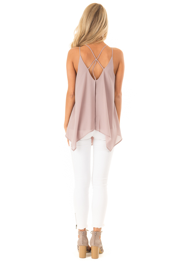 Dusty Mauve Spaghetti Strap Tank with Double Strap Detail back full body