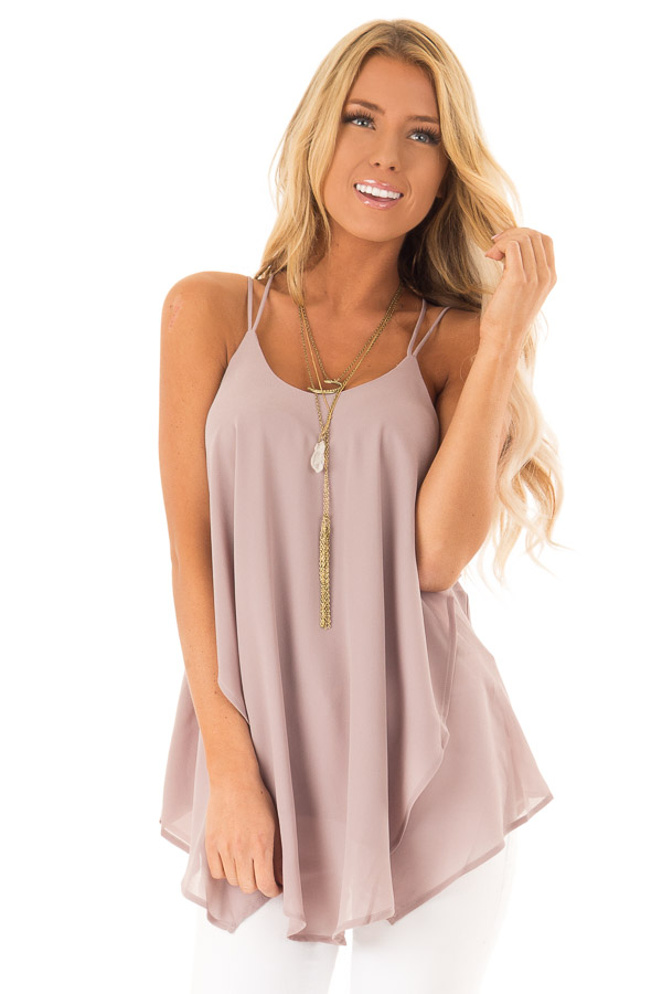 Dusty Mauve Spaghetti Strap Tank with Double Strap Detail front close up