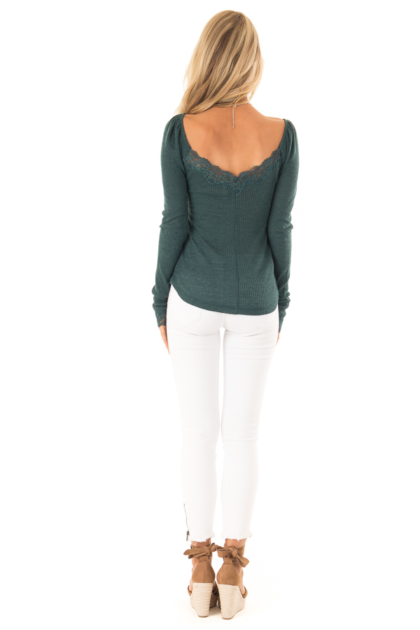Dark Teal Ribbed Knit Lace Trimmed Long Sleeve Top back full body