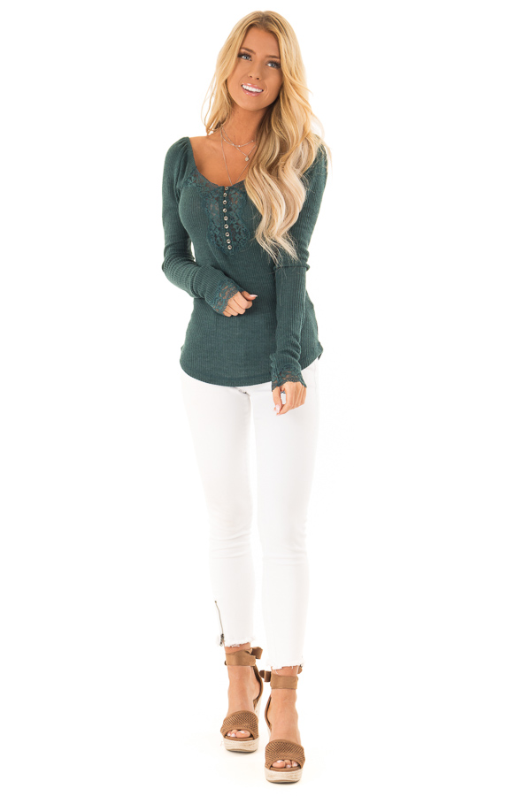 Dark Teal Ribbed Knit Lace Trimmed Long Sleeve Top front full body