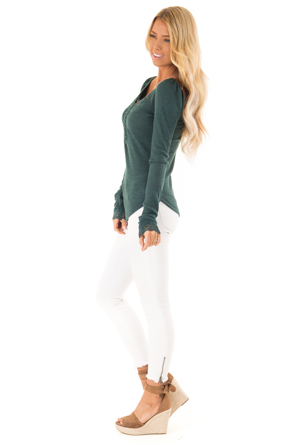 Dark Teal Ribbed Knit Lace Trimmed Long Sleeve Top side full body