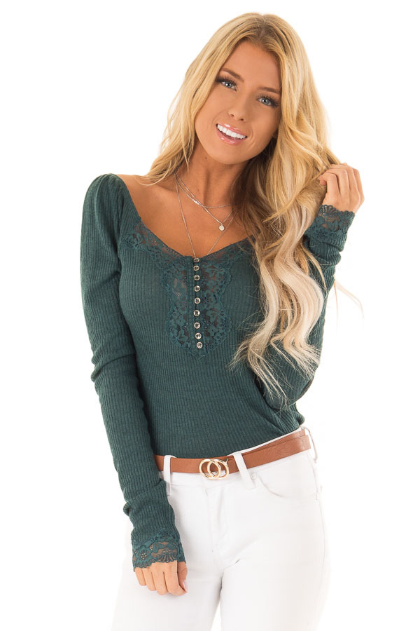 Dark Teal Ribbed Knit Lace Trimmed Long Sleeve Top front close up