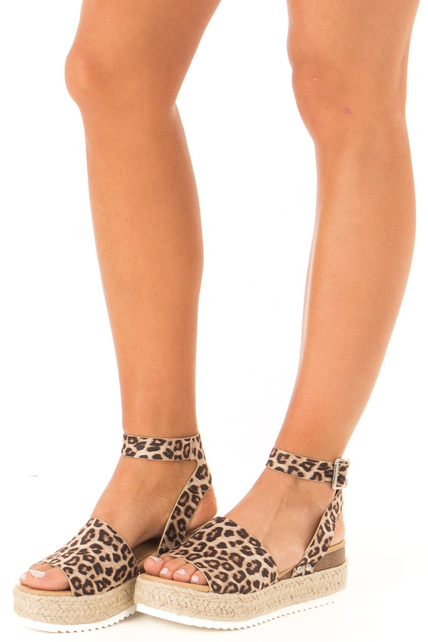 Cheetah Print Espadrille Platform Sandals with Ankle Strap side view