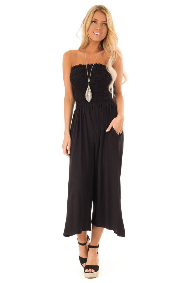 Ebony Strapless Smocked Jumpsuit with Wide Cropped Legs front full body