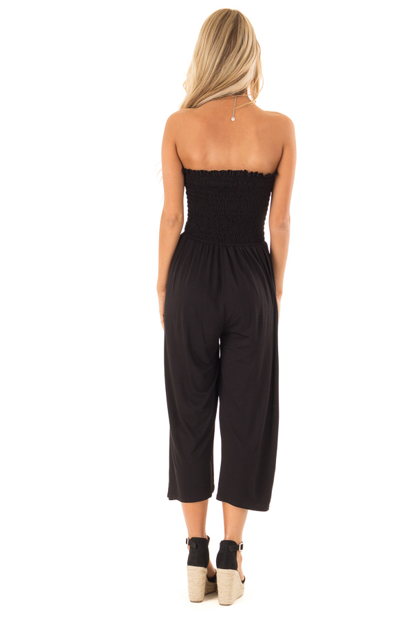 Ebony Strapless Smocked Jumpsuit with Wide Cropped Legs back full body