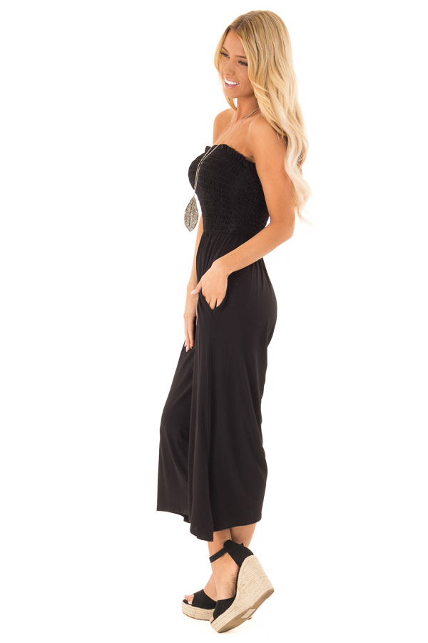 Ebony Strapless Smocked Jumpsuit with Wide Cropped Legs side full body