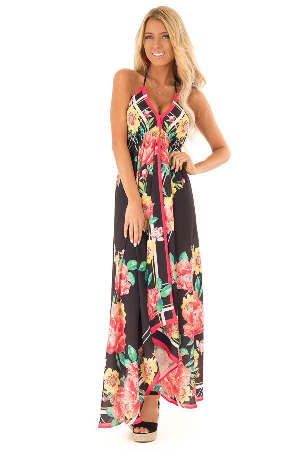 ee0dfb992a4 Obsidian Floral Halter Top Handkerchief Dress - Lime Lush Boutique
