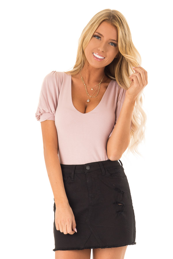 Dusty Pink Bodysuit with Puffed Sleeves front close up