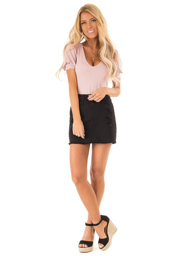 Dusty Pink Bodysuit with Puffed Sleeves front full body