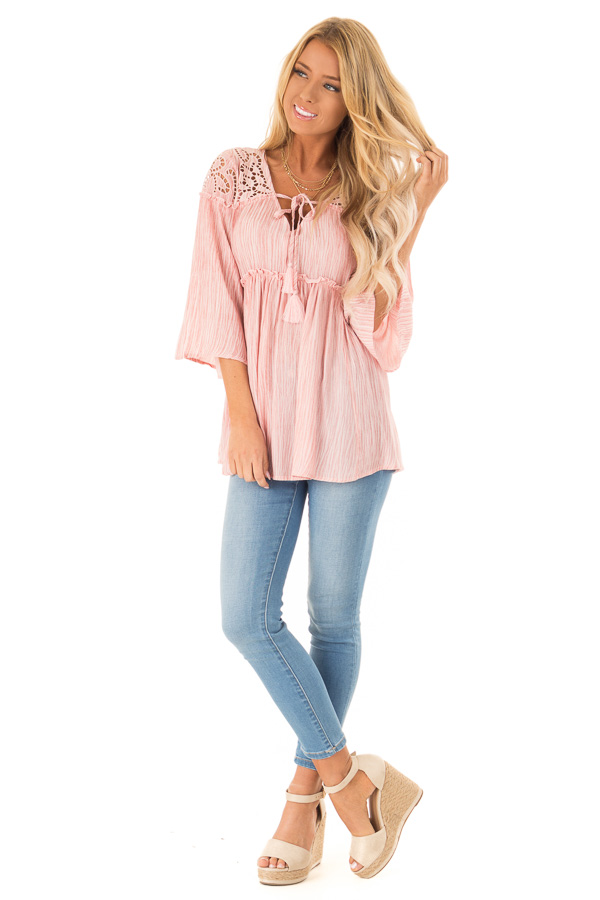 Light Pink 3/4 Sleeve Blouse with Floral Cut Out Detail front full body