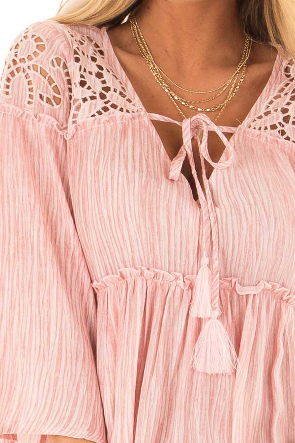 Light Pink 3/4 Sleeve Blouse with Floral Cut Out Detail detail