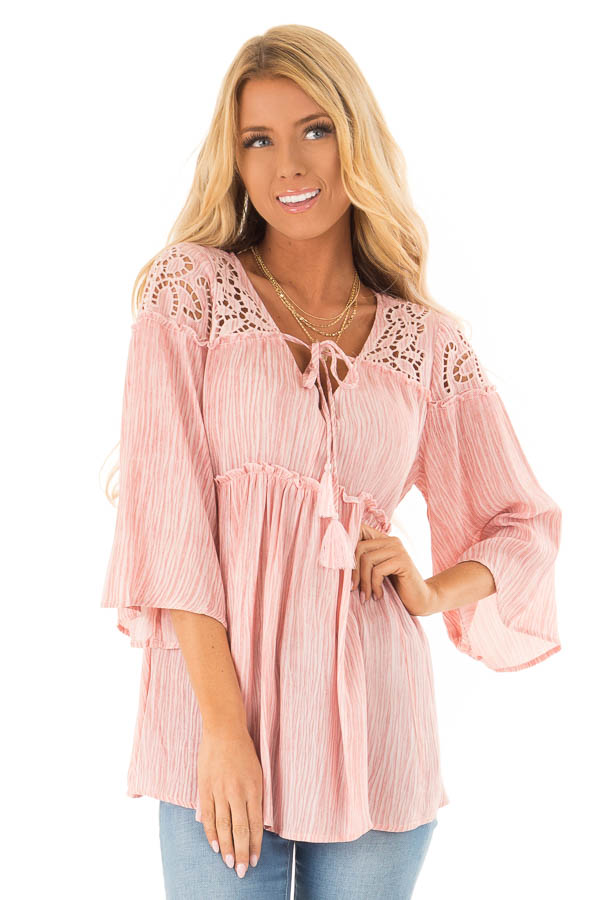 Light Pink 3/4 Sleeve Blouse with Floral Cut Out Detail front close up