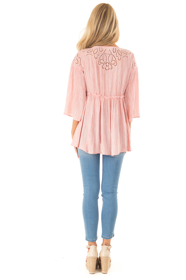 Light Pink 3/4 Sleeve Blouse with Floral Cut Out Detail back full body