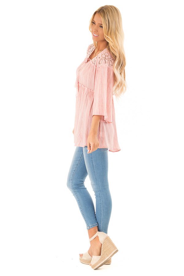 Light Pink 3/4 Sleeve Blouse with Floral Cut Out Detail side full body