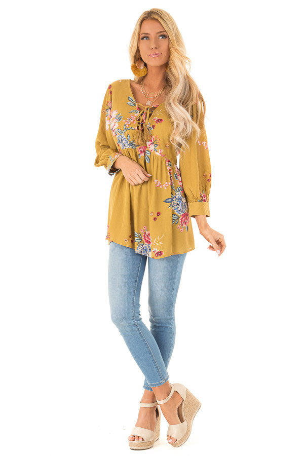 1ea58f55c7 ... Dijon Mustard Floral Print Blouse with Lace Up Neckline front full body  ...