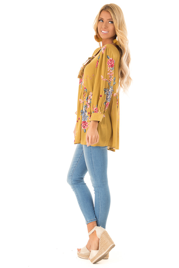 Dijon Mustard Floral Print Blouse with Lace Up Neckline side full body