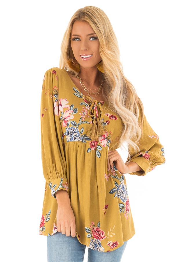Dijon Mustard Floral Print Blouse with Lace Up Neckline front close up