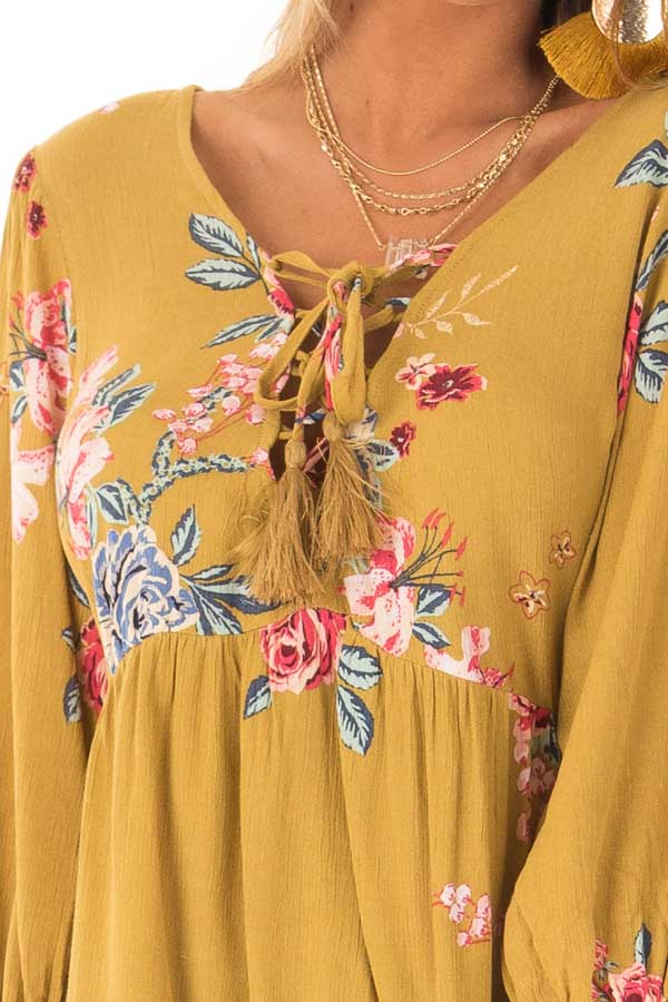 Dijon Mustard Floral Print Blouse with Lace Up Neckline detail
