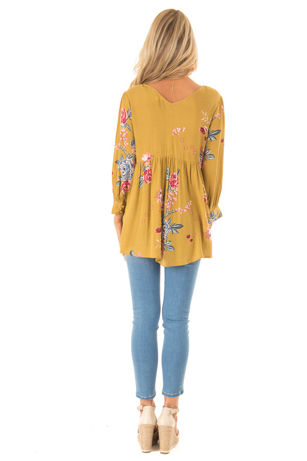 Dijon Mustard Floral Print Blouse with Lace Up Neckline back full body