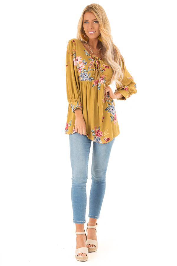 Dijon Mustard Floral Print Blouse with Lace Up Neckline front full body