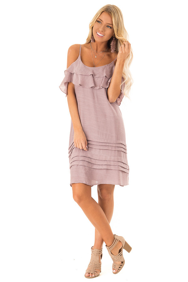 4cb4d8433fa3 Dusty Mauve Cold Shoulder Mini Dress with Ruffle Details front full body ...