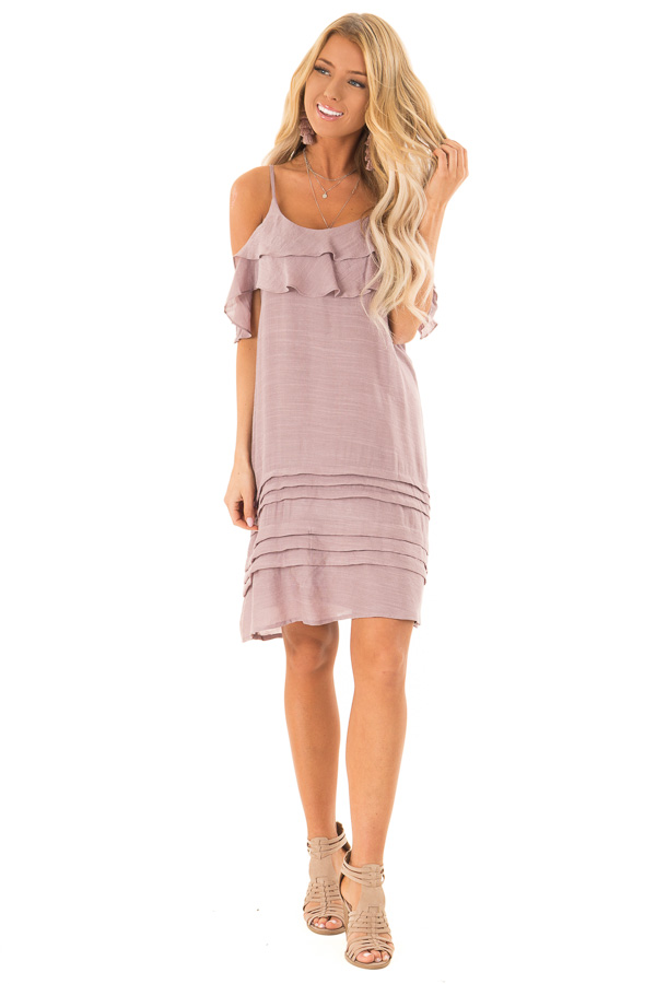 5a4672e1872f ... Dusty Mauve Cold Shoulder Mini Dress with Ruffle Details front full  body ...