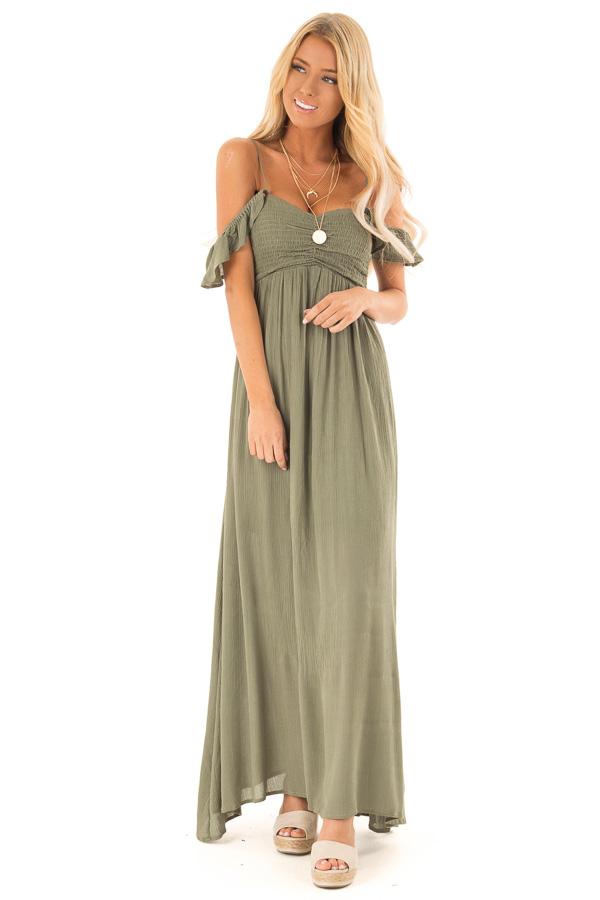 Dark Olive Cold Shoulder Maxi Dress with Smocked Bust front full body