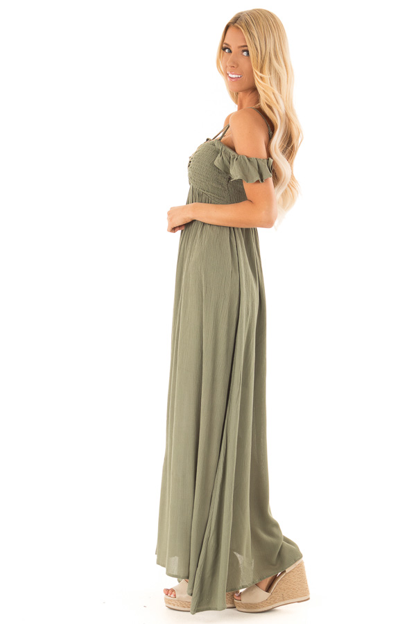 Dark Olive Cold Shoulder Maxi Dress with Smocked Bust side full body