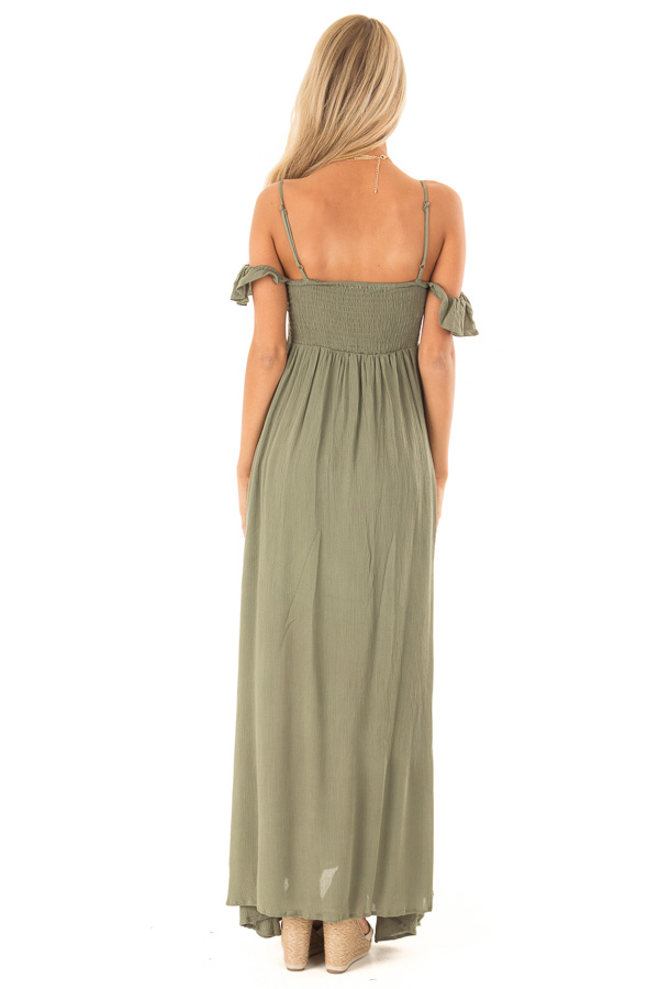 Dark Olive Cold Shoulder Maxi Dress with Smocked Bust back full body