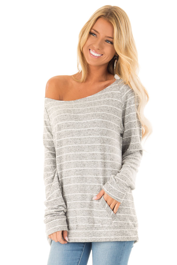e86bf208f92 Heather Grey and Ivory Striped Long Sleeve Top - Lime Lush Boutique