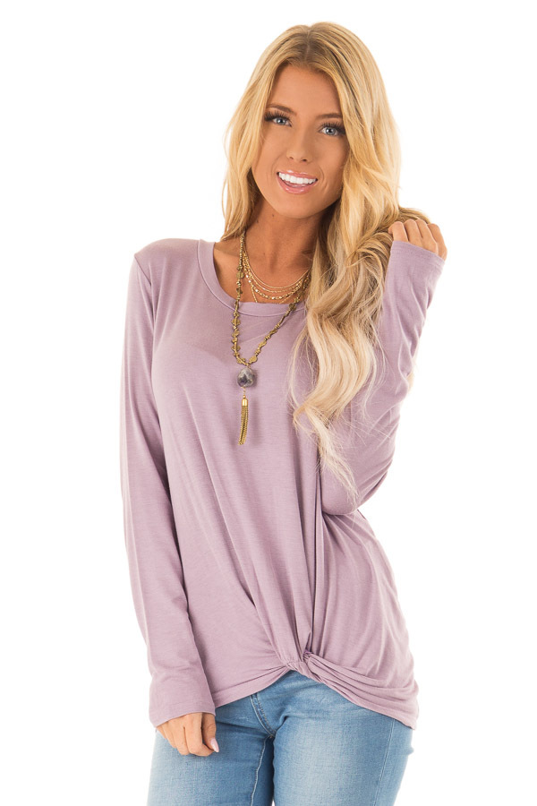 e0a47cf0341bf Lilac Long Sleeve Top with Front Twist Detail - Lime Lush Boutique