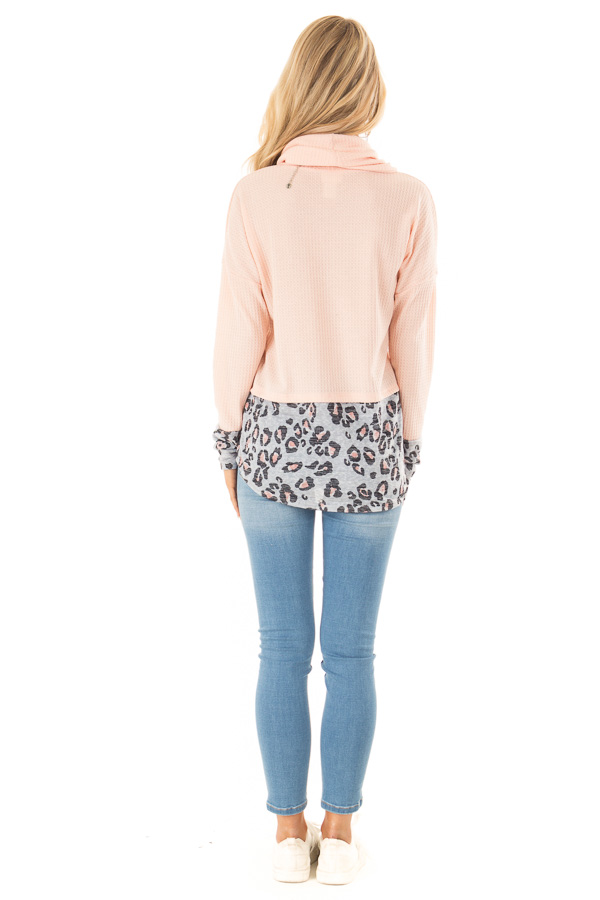 Bright Peach Cowl Neck Top with Leopard Print Contrast back full body