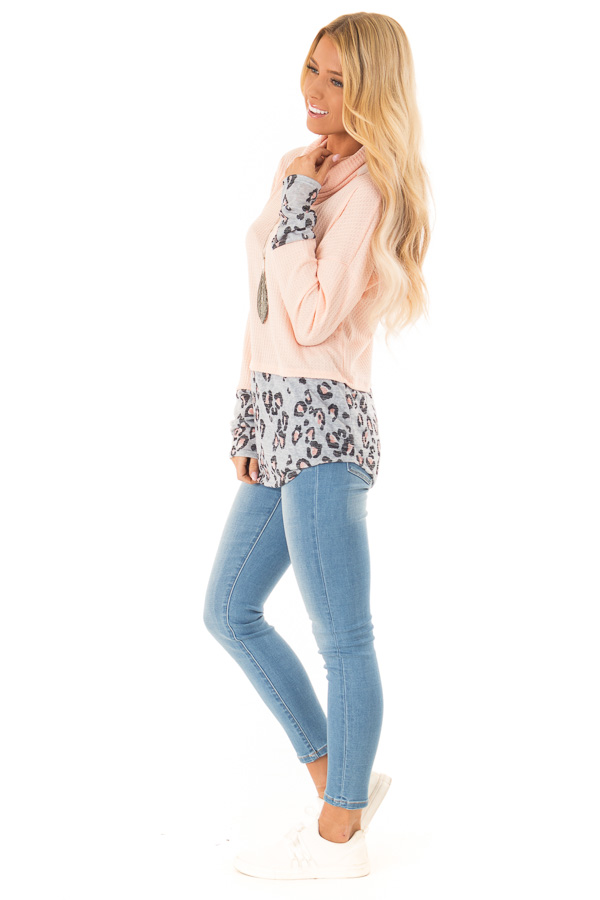 Bright Peach Cowl Neck Top with Leopard Print Contrast side full body