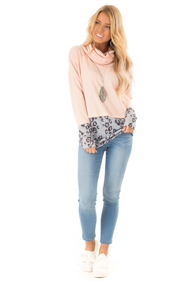 Bright Peach Cowl Neck Top with Leopard Print Contrast front full body