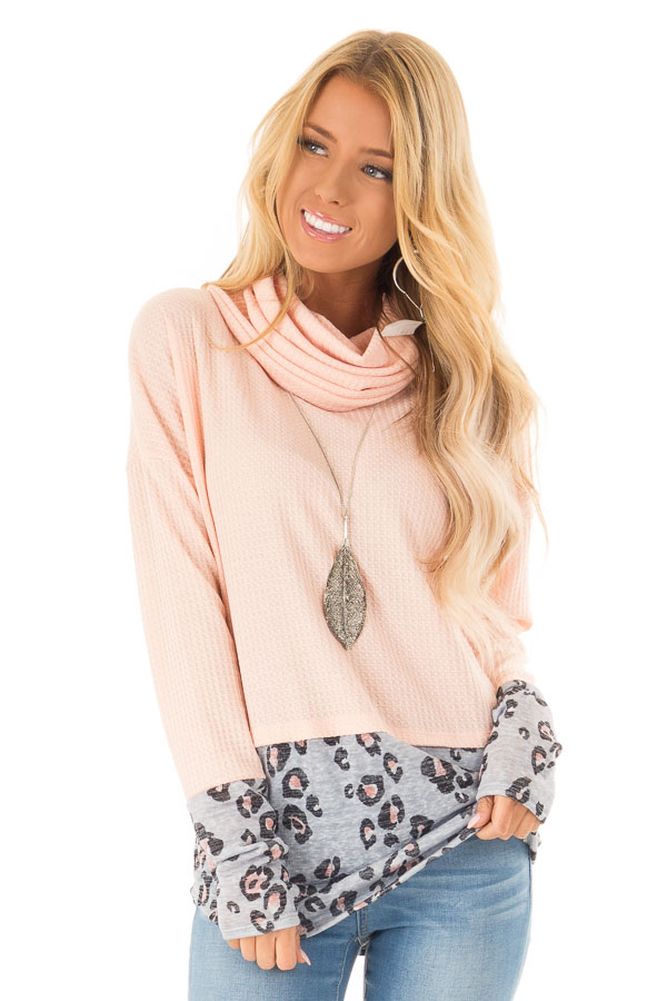 Bright Peach Cowl Neck Top with Leopard Print Contrast front close up