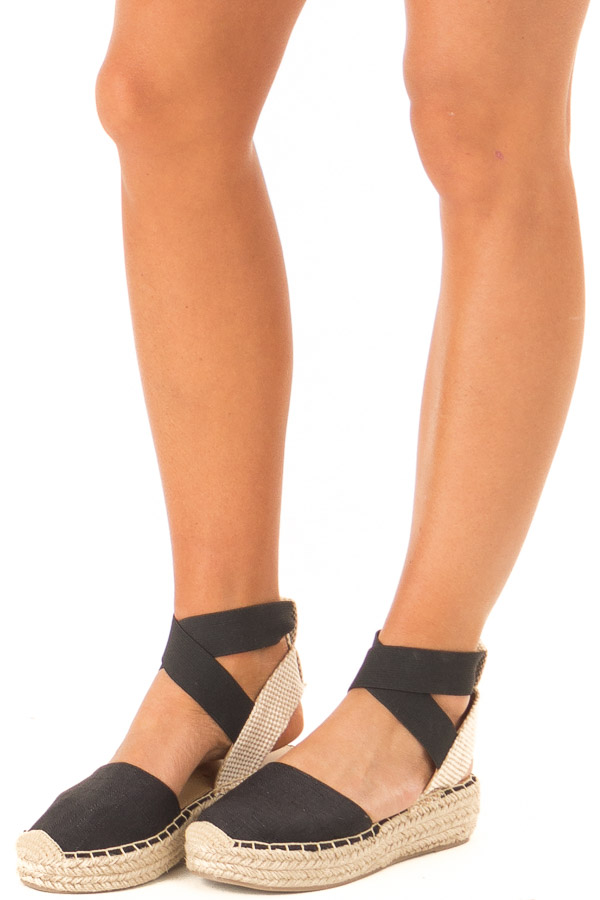 Black and Beige Ankle Strap Espadrille Platform Sandal side view