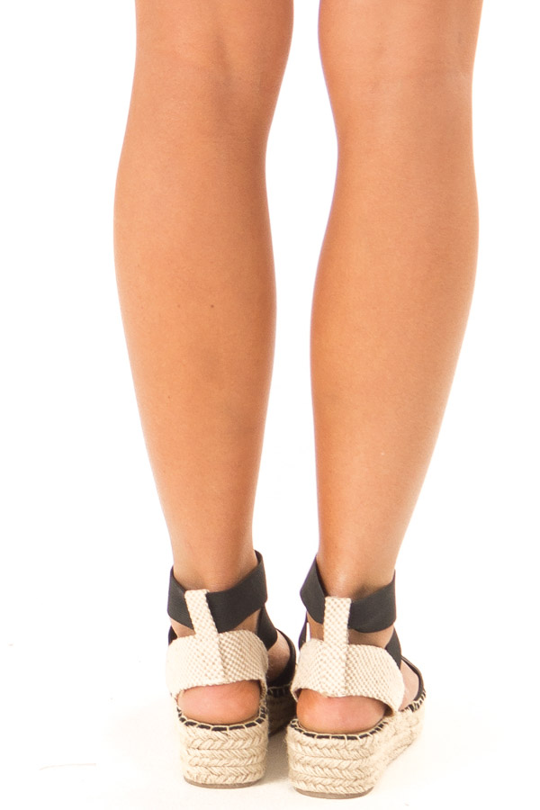 Black and Beige Ankle Strap Espadrille Platform Sandal back view