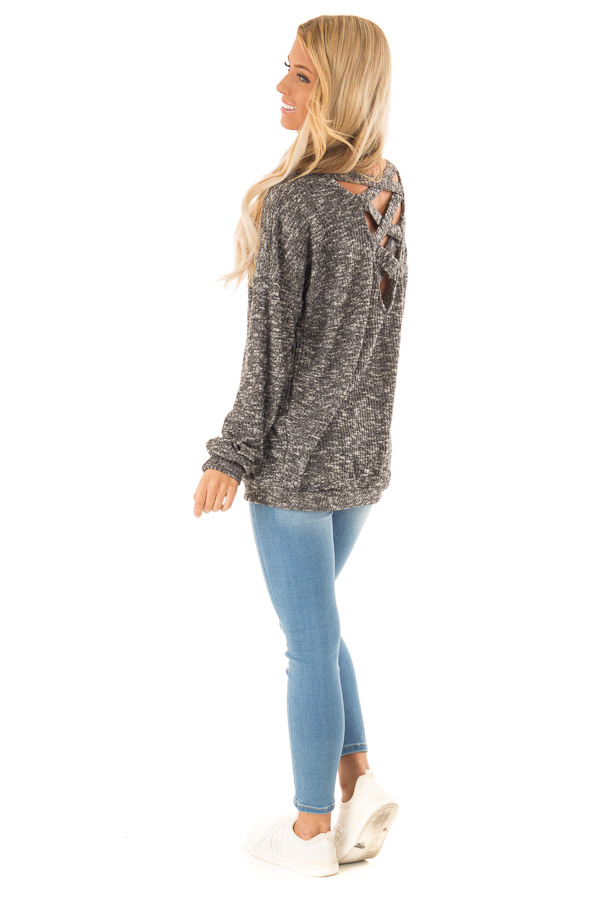 Charcoal Two Tone Long Sleeve Top with Criss Cross Back side full body