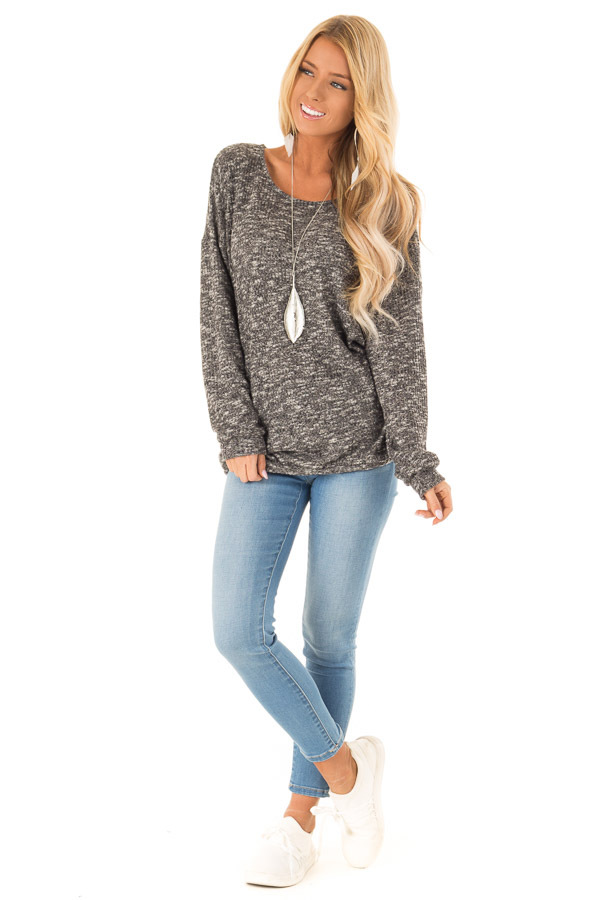 Charcoal Two Tone Long Sleeve Top with Criss Cross Back front full body