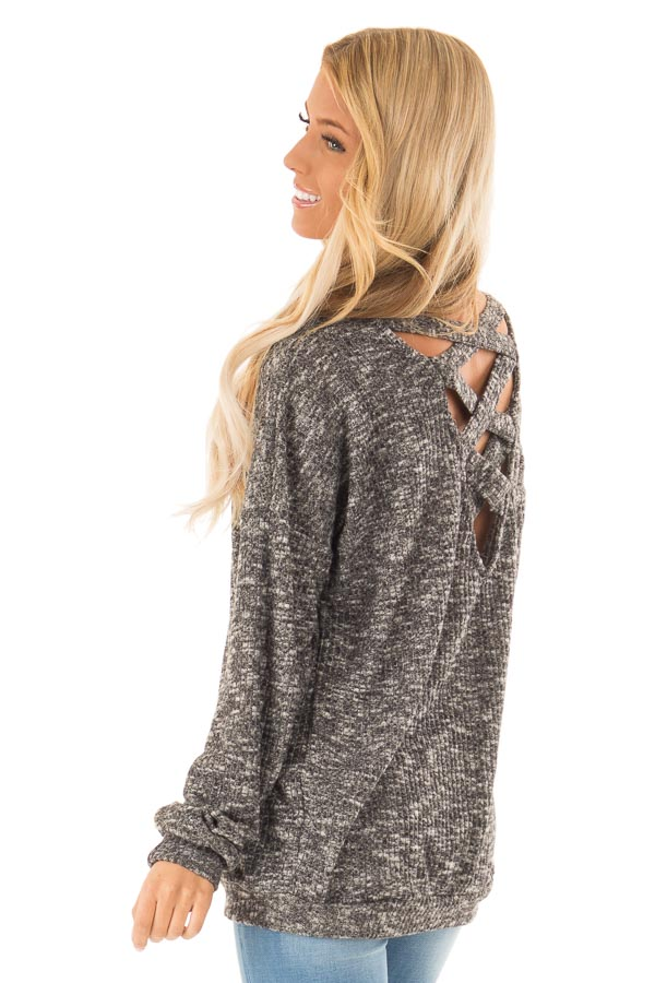 Charcoal Two Tone Long Sleeve Top with Criss Cross Back back side close up