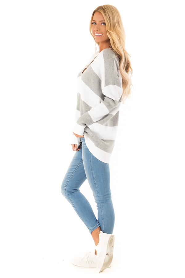 c84d34aa6 Heather Grey and Ivory Striped V Neck Long Sleeve Sweater side full body
