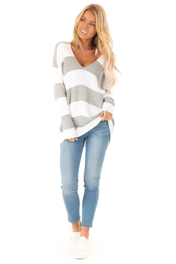 85286c40c Heather Grey and Ivory Striped V Neck Long Sleeve Sweater front full body