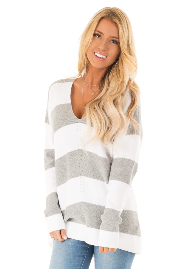Heather Grey and Ivory Striped V Neck Long Sleeve Sweater front close up
