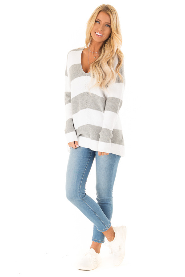 Heather Grey and Ivory Striped V Neck Long Sleeve Sweater front full body
