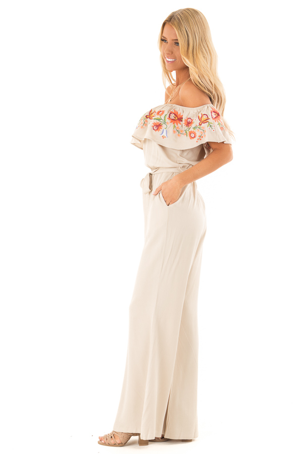 Dusty Beige Off the Shoulder Floral Embroidered Jumpsuit side full body