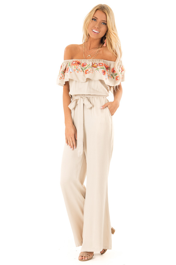 Dusty Beige Off the Shoulder Floral Embroidered Jumpsuit front full body