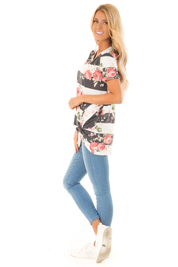 Ivory and Charcoal Striped Floral Top with Front Twist Detail side full body