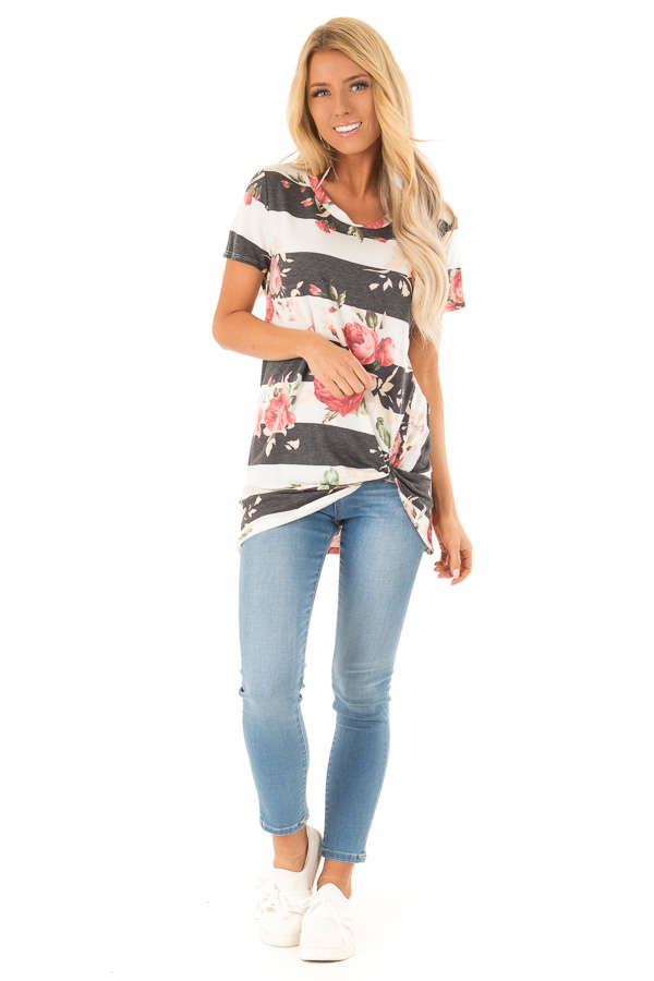 Ivory and Charcoal Striped Floral Top with Front Twist Detail front full body